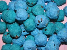 Blue and teal seed bombs for wedding favors or a fun outdoor activity with kids!