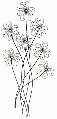 """Black Metal Daisy Flower Wall Decor by UMA. $27.53. Great for bedrooms, bathrooms and family rooms. 18"""" w x 40"""" l. Black metal flower wall decor. Welded construction. This wall sculpture adds an updated, fun look to any room. Crafted from metal with welded construction, the flowers have a faceted, acrylic crystal center. The piece comes 'flat' but the petals can be gently bent upwards to give it a more 3-dimensional design. Looks especially nice when you alternat..."""