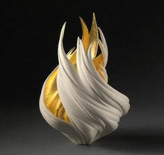 Gilded Vortex Vessel by Jennifer McCurdy.  McCurdy is a phenomenal artisan; she calls her process 'wheel thrown porcelain'. #abstract