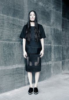 Embrace SS15, #embracebrand #ss15 #lookbook #black #sheer #panels #womenswear #design #back #detail #boxy #shirt #skirt