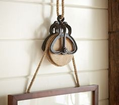 Rustic Pulley Frame Hanger with Rope | Pottery Barn Kids:
