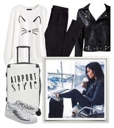 """""""Airport Style"""" by laurabosch on Polyvore featuring Taya, H&M, CalPak, adidas Originals and airportstyle"""