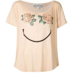WILDFOX 'Happy Rose' T-shirt (255 BRL) ❤ liked on Polyvore featuring tops, t-shirts, shirts, t shirts and tees