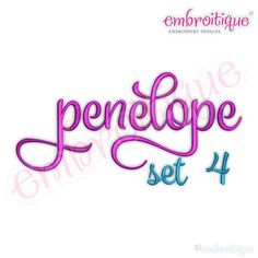 Embroitique: Penelope  Set 4 - Calligraphy Script Monogram Alphabet Font f- Instant Email Delivery Download Machine embroidery design