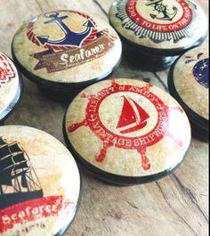 Handmade Nautical Knobs Drawer Pull Set, 6 Retro Vintage Style Knobs, Voyager