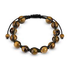 Adjustable Bracelet with Eye Round Beads, Men's
