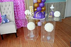 Gold and Lavender Baby Shower | CatchMyParty.com