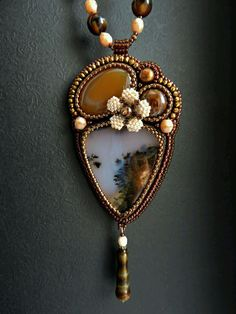 """Купить Кулон """"Карамель"""" - ручная авторская работа, бисерное украшение, подарок на любой случай, вышивка"""