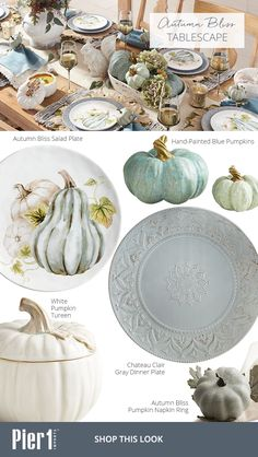 Trending this fall: Take the familiar signs of autumn—pumpkins, leaves and friendly squirrels—and give them a delightful new look with a softer color palette inspired by Pier 1's Autumn Bliss Dinnerware.