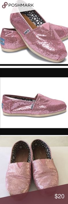 Pink glitter toms shoes Super cute and normal wear and tears TOMS Shoes
