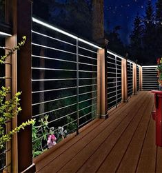 Need ideas for lighting your outdoor deck? Learn the best ways to illuminate outside and get inspired by these list pretty rooftop deck lighting ideas - ALL ABOUT Deck Railing Design, Deck Railings, Deck Design, Cool Deck, Diy Deck, Fence Lighting, Outdoor Lighting, Lighting Ideas, Stair Lighting