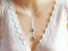 Gemstone Lariat Necklace, Blue Zircon Stone, Valentines Day, Mother Necklace, Necklace for Her, Bridesmaid Necklace, Wedding
