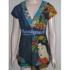 Desigual dámský top Short Sleeve Dresses, Dresses With Sleeves, Tops, Fashion, Moda, Sleeve Dresses, Fashion Styles, Gowns With Sleeves, Fashion Illustrations