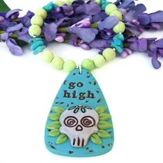 The Go High handmade necklace features a Go High sugar skull polymer clay pendant, lemon jade, genuine turquoise and sterling silver - jewelry gift for women.