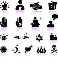 psychic fortune teller black and white vector icon set vector art illustration