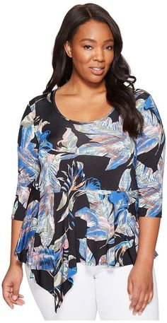 f5593fc226063 Karen Kane Plus - Plus Size Asymmetric Peplum Top Women s Clothing Plus  Size Tops