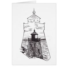 Note card with Castle Hill Lighthouse illustration #cards #christmascard #holiday