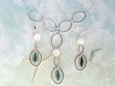 Unique Silver Chain Jewelry Set / Hoop Jewelry Set / Oval Hoop