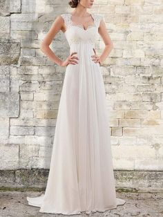 Prom Dress Beautiful, Empire Sweep/Brush Train Bateau Sleeveless Chiffon Wedding Dresses Discover your dream prom dress. Our collection features affordable prom dresses, chiffon prom gowns, sexy formal gowns and more. Find your 2020 prom dress Wedding Dress Train, Wedding Dress Chiffon, Cheap Wedding Dress, Chiffon Ruffle, Empire Wedding Dresses, Summer Wedding Dresses, Fall Wedding Gowns, Chiffon Dresses, Summer Weddings