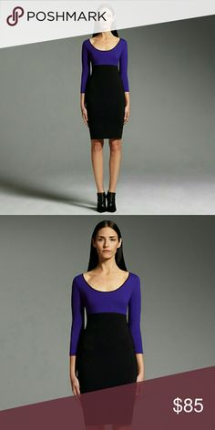 Narciso Rodriguez Colorblock Fitted Sheath Dress Narciso?Rodriguez for DesigNation?makes the ordinary, extraordinary. Featuring a colorblock?pattern and a curve-contouring silhouette, this women's dress brings contemporary flair to your closet.?  Colorblock?design offers updated appeal. Empire waistband and sheath styling provide a figure-flattering fit. Exposed back zipper offers an edgy touch. Stretchy ponte knit construction Scoop neck.  3/4 quarter sleeves 37-in. approximate length from…