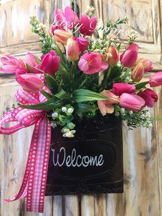 Wall basket- Door Wreath-Floral Arrangement- Summer Wreath-Tulips Basket- Front Door Wreath