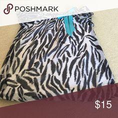 Girls black & white zebra top w blue bow 100% polyester KSH Tempted Tops