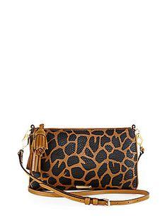 Burberry Peyton Animal-Print Leather Shoulder Bag