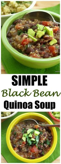 Simple Vegan Black Bean Quinoa Soup Recipe - one pot and just 30 minutes later and you have this healthy and delicious dish! #blackbeansoup #quinoa #vegansoup