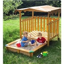 Child-Sized Solid Pine Cabana with Sand Pit - Great site for outdoor toys :o)