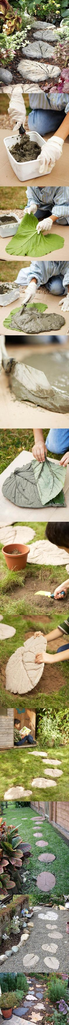 DIY Stone Leaf Garden Path | iCreativeIdeas.com Like Us on Facebook ==> https://www.facebook.com/icreativeideas