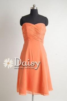 bridesmaids:  New Sweetheart Orange Chiffon Bridesmaid Dress by DaisyBridalHouse, $79.00