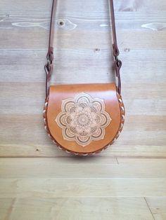 Women's Leather Purse, Vintage Inspired Bohemian Leather Bag with Mandala Design, Girls Retro Cross Body Leather Bag, Boho Style Leather Bag