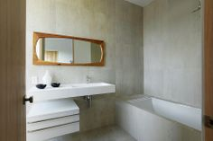 Grey bathroom wooden additions  Artful Display of Lines and Japanese Influences: Project 355 Mansfield in California