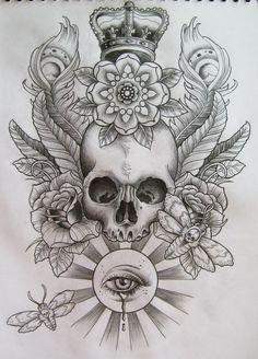 Skull Harley Crown Tattoo Design   Fresh 2016 Tattoos Ideas