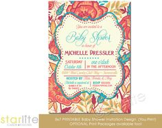 Baby Shower Invitation  5x7  Colorful Exotic Floral by starwedd, $22.00