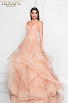 This Terani Couture Long Tulle Ball Gown features spaghetti straps with trimmed glitter tulle. Available for Pre Order**** A Line Prom Dresses, Strapless Dress Formal, Evening Dresses, Bridesmaid Dresses, Formal Dresses, Wedding Dresses, Tulle Ball Gown, Ball Gowns, Terani Dresses