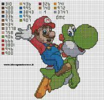 Mario and Yoshi cross stitch Cross Stitch Baby, Cross Stitch Charts, Counted Cross Stitch Patterns, Cross Stitch Designs, Cross Stitch Embroidery, Embroidery Patterns, Super Mario, Deco Gamer, Mario Crochet