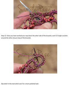 CROCHET PATTERN Crochet Bracelet Pattern Bead por thevelvetheart