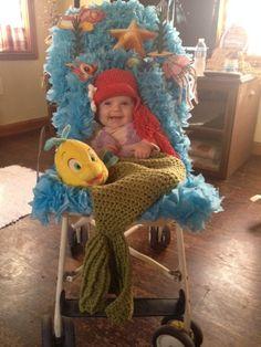The Little Mermaid Costume - Halloween Costume Contest via Halloween Bebes, Holidays Halloween, Happy Halloween, Baby Girl Halloween Costumes, Family Costumes, Stroller Halloween Costumes, Mother Daughter Halloween Costumes, Infant Costumes, Crochet Halloween Costume