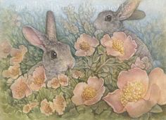 """Bunnies in the Mist  """"In the early morning light, just before the sun reaches the horizon, the bunnies come out to the meadow and munch on the primrose."""" `"""