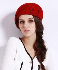 Flower Woolen Beret in Red #millinery #judithm #hats