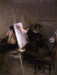 The Artist Ruth Sterling in Her Studio: Giovanni Boldini - 1892