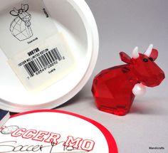 #Swarovski Austria Figurine #SoccerMo Cow Red Limited Ed 2008 Orig Box 968798