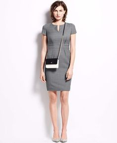 Dress like a boss, Claire Underwood Style: Ann Taylor Sharkskin Split Neck Dress ($169)