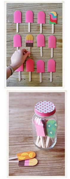 Fun memory game..popsicles. I used this idea for a Christmas gift for my 3 year old niece although I didn't use popsicle shapes. Just different scrapbook paper prints on one side and laminated with contact paper.