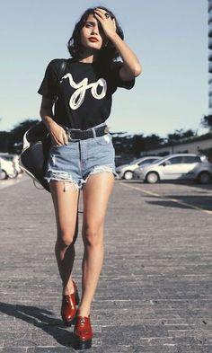 Look Shorts Jeans Cintura Alta