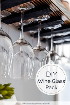 DIY Hanging Wine Glass Rack - - Learn how to make a hanging wine glass rack. Add more storage and style by making a wine glass holder under cabinets or shelves. Hanging Wine Glasses, Hanging Wine Glass Rack, Wine Glass Storage, Wine Glass Holder, Wine Glass Shelf, Wine Holders, Box Wine, Diy Wine Glasses, Glass Shelves