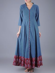 Indigo-Maroon Button Down Ajrakh Natural Dyed FlaMaroon Cotton DressWomen S Fashion Worldwide ShippingPretty dresses for ladies with latest design patterns. Shop online for cute dresses with colour combination suiting your style.Kalidar kurta n neckl Long Kurti Patterns, Dress Patterns, Ethnic Patterns, Kurta Designs Women, Blouse Designs, Dress Designs, Denim Kurti Designs, Stylish Dresses, Casual Dresses