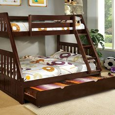 A solid wood, twin over full bunk bed option for a shared kid's room. I like that it's solid wood with built in storage. #bunkbeds #affiliate