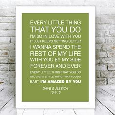 Personalised First Dance Song Lyrics By Lonestar Framed Print | GiftWrappedandGorgeous.co.uk This personalised wedding song lyrics picture features the words from 'Amazed' by Lonestar and is personalised with the wedding couples names and date of their wedding. An ideal and unique wedding or anniversary gift which comes framed and ready to hang. £49.99